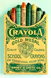 Crayola crayon box, eight colors