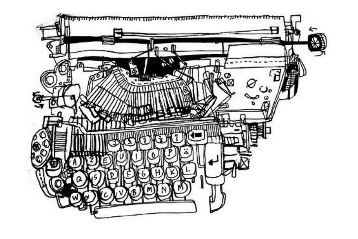 creative expression typewriter drawing