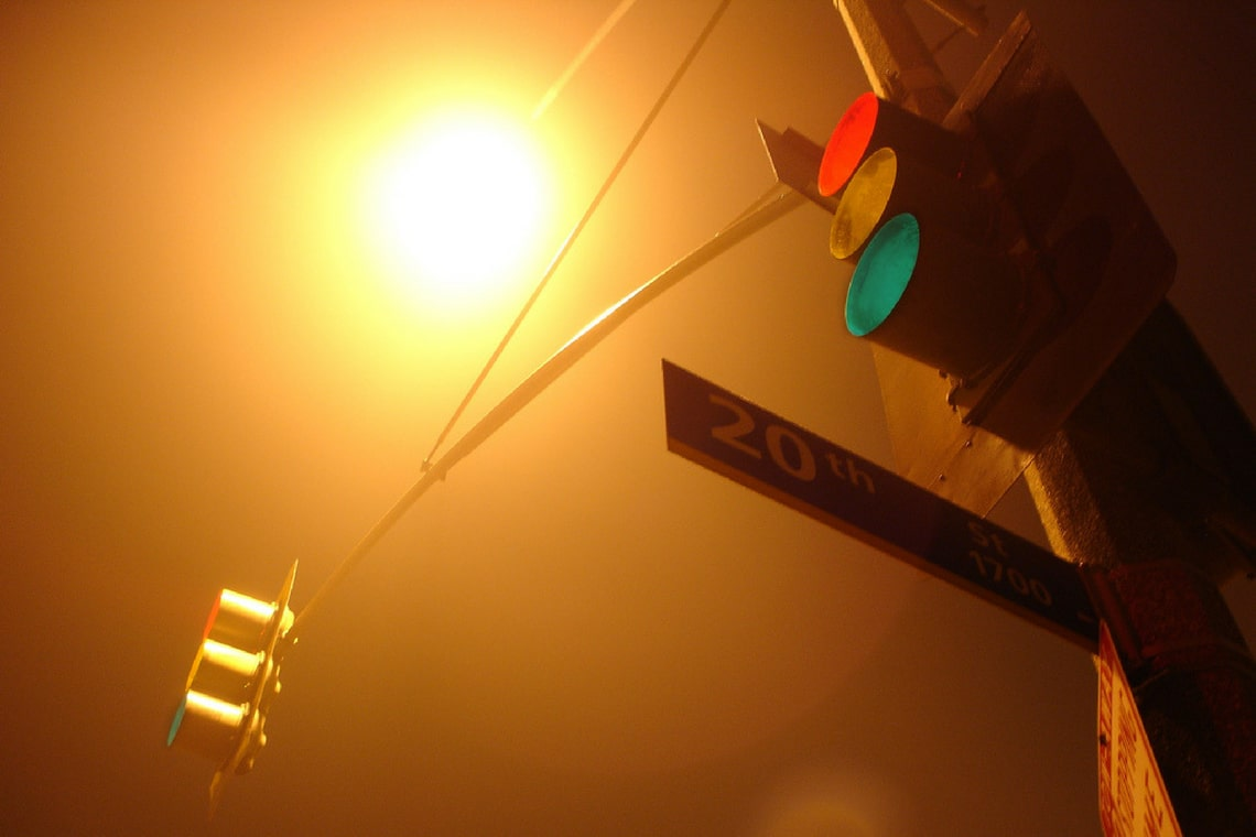 Fog, street light, courage, vision, progress