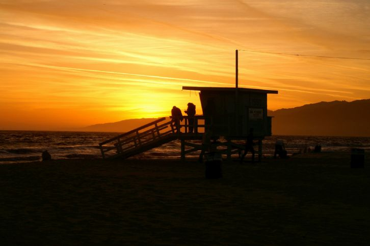 Sunset, Santa Monica, Lifeguard Tower, Family, Leisure, schedule