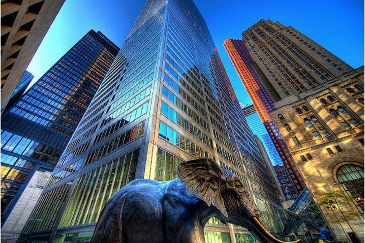 Mission statement, elephant, tall city buildings, a wonderful life