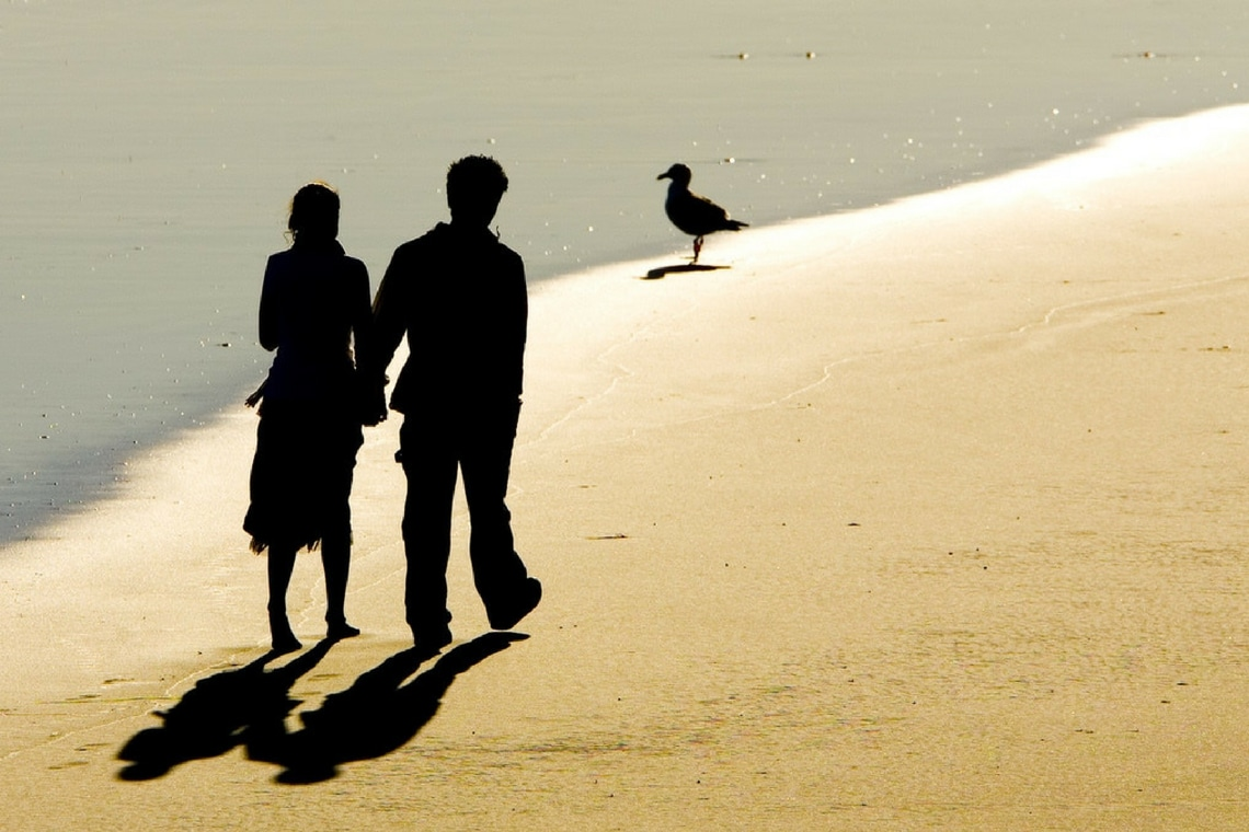 walking, holding hands, beach