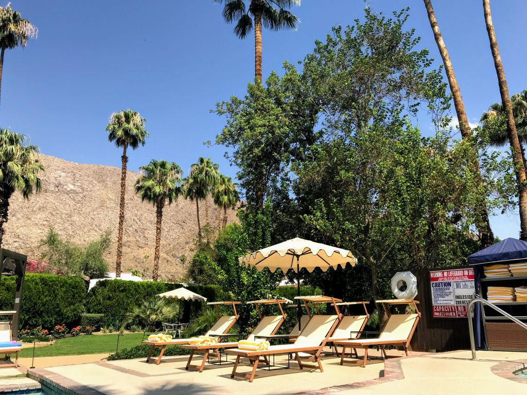 Palm Springs Poolside Lounge Chairs, Towels, Hot Tub