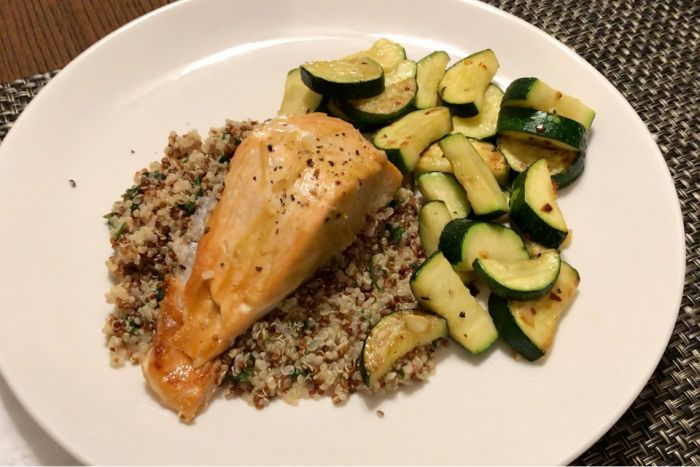 Home Cooked Baked Salmon Dinner